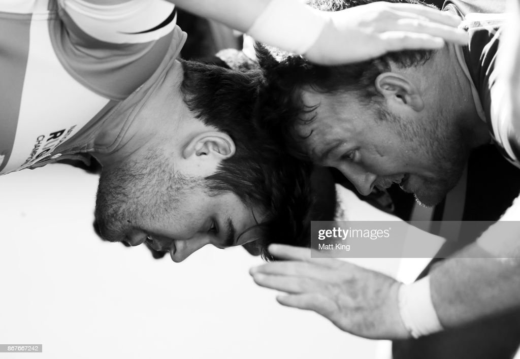 Folau Fainga'a of the Vikings and Ed Craig of the Rams pack down in a scrum during the round nine NRC match between the Rams and Canberra at TG Milner Oval on October 29, 2017 in Sydney, Australia.