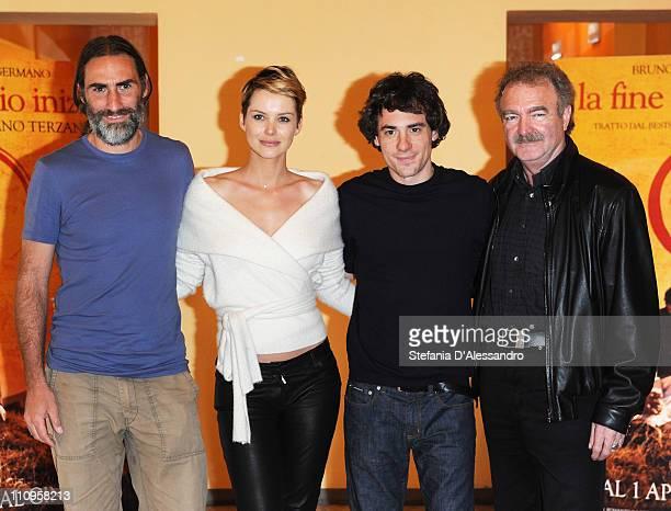 Folco Terzani Andrea Osvart Elio Germano and Jo Baier attend 'La Fine E' Il Mio Inizio' Milan Photocall held at Cinema Anteo on March 28 2011 in...
