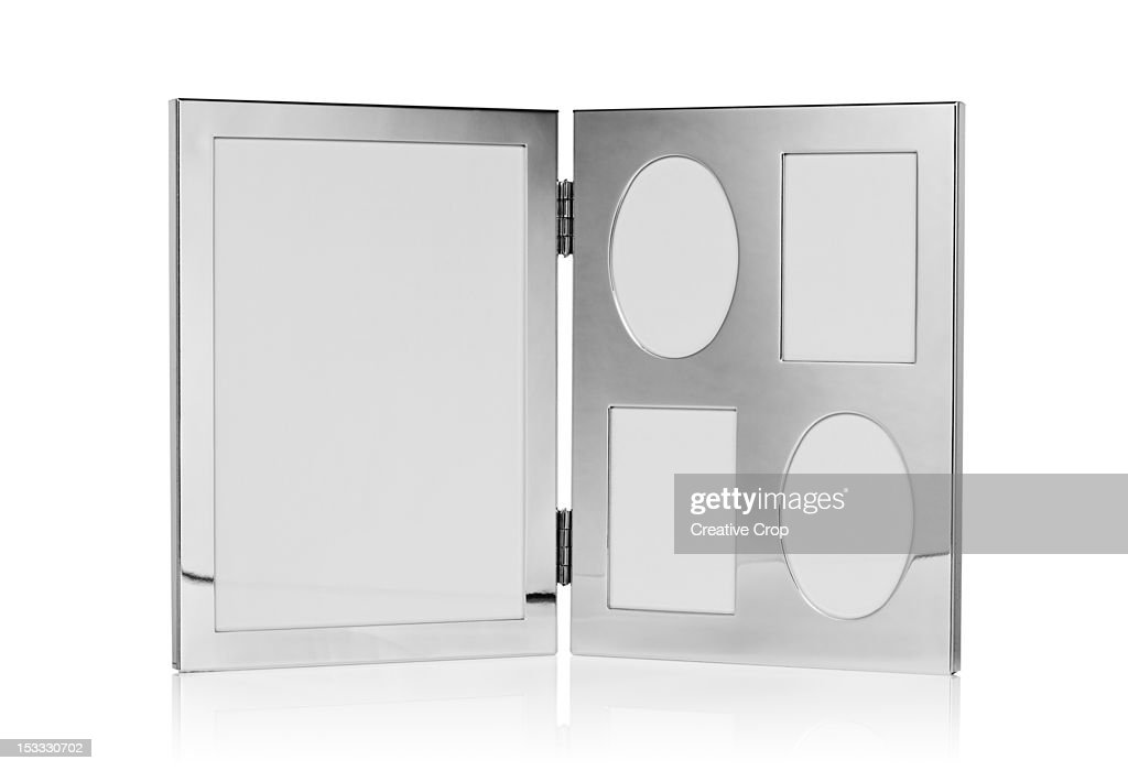 Foldable silver photo frame : Stock Photo