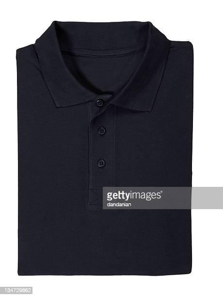 Folded black polo shirt isolated on white