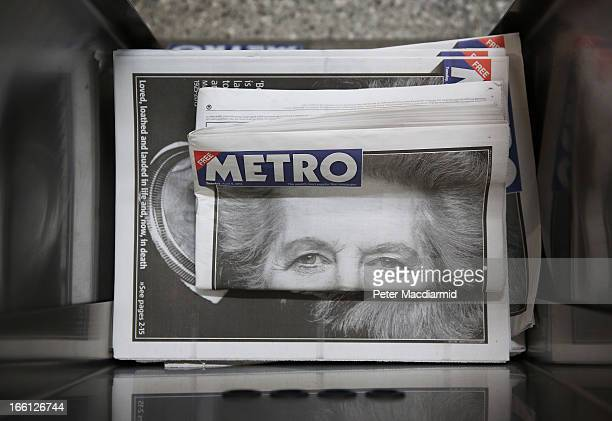 A folded copy of a free newspaper sits in a display box at Waterloo station the day after the death of former Prime Minister Lady Thatcher on April 9...