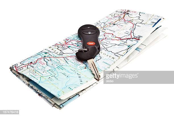Gefaltete Karte und Auto-Schlüssel