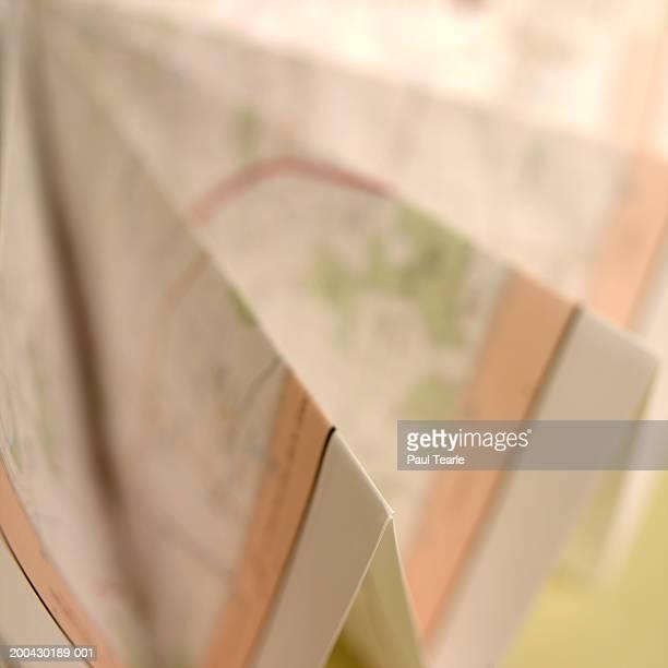 Folded map, close up