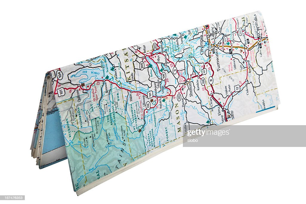 Folded Map Standing : Stock Photo