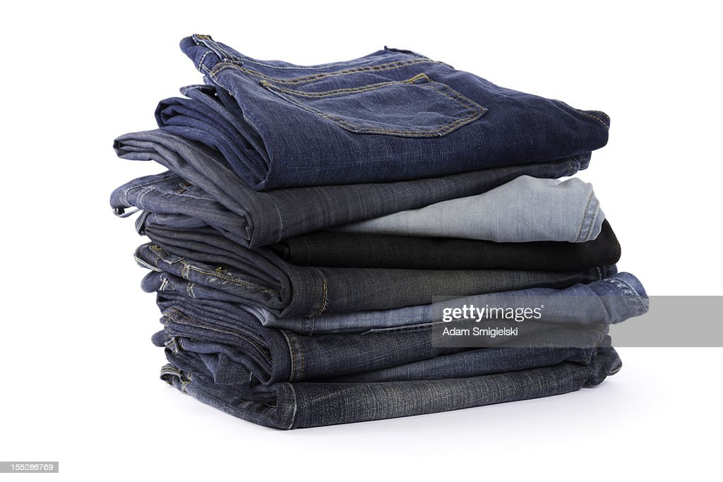 Folded old jeans stock photo getty images for Old denim