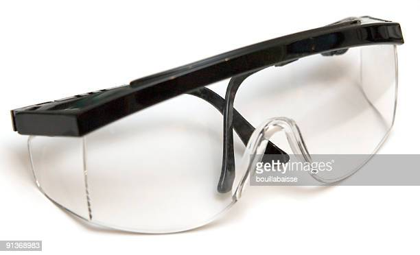 Folded pair of safety glasses on a white background