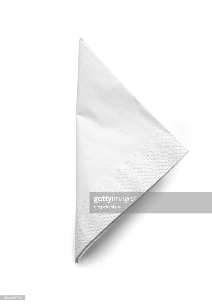 Folded White Cocktail Napkin - isolated