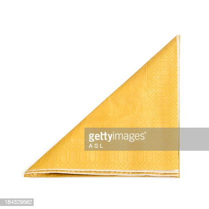 A folded yellow napkin on a white background