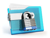 Folder and lock. Data and privacy security concept. Information protection. 3d illustration
