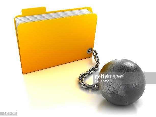 Dossier de balle et la chaîne attachée, isolé avec un Tracé de détourage