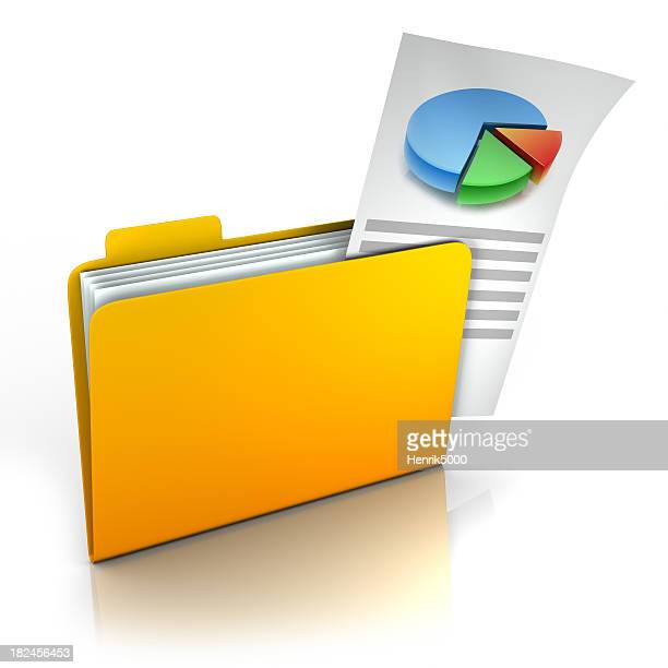 Folder with chart sticking out - isolated w/ clipping path