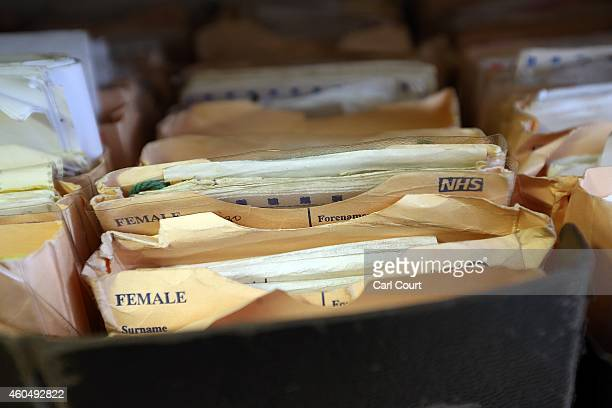 Folders containing patient records are pictured in a General Practitioners surgery on December 4 2014 in London England Ahead of next years general...