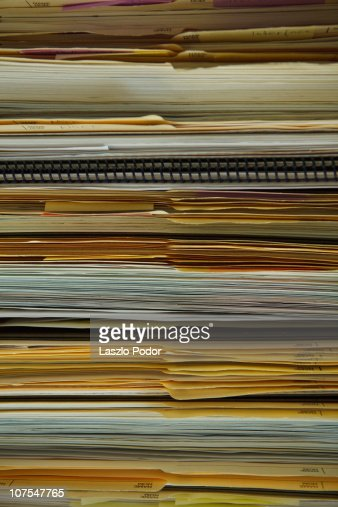 Folders in a filing cabinet : Stock Photo