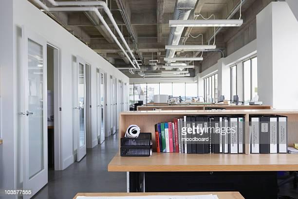 Folders on desk in empty office