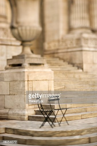 Folding Chairs Outside New York Public Library New York City Ny Stock Photo
