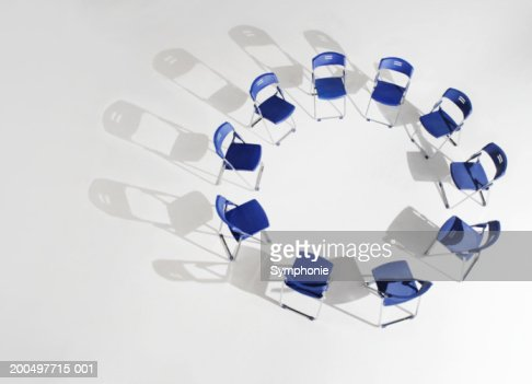 Folding chairs placed in circle, elevated view