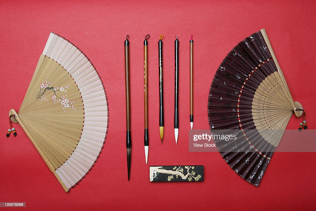 Folding Fan And Brush Pen,Still Life : Stock Photo