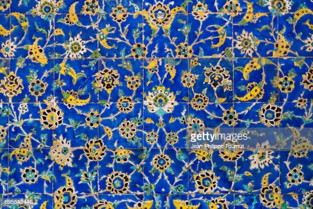 Foliate pattern on tiles of Sheikh Lotfollah Mosque, Isfahan, Iran