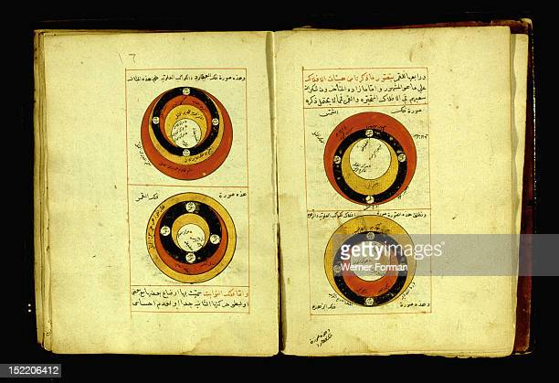 Folio from an C18th astronomical manuscript illustrating the relative positions of the sun the moon Jupiter and Venus From the collection established...