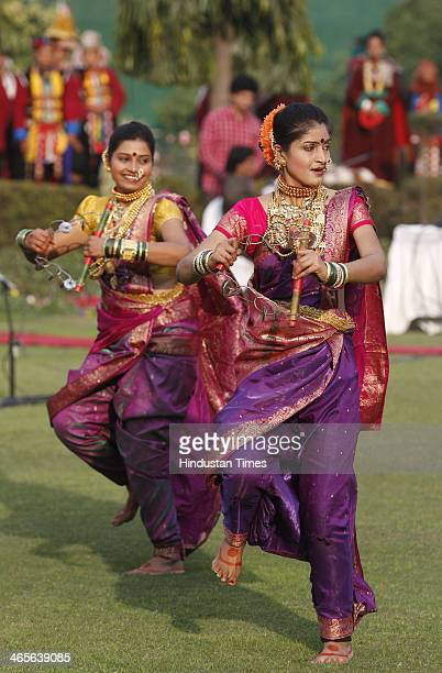 Folk artists from Maharashtra who participated in the Republic Day Parade perform folks dance in front of Vice President Hamid Ansari at Vice...