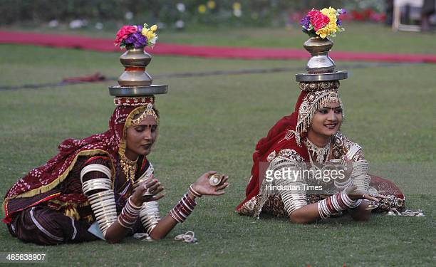 Folk artists from Rajasthan who participated in the Republic Day Parade perform traditional dance in front of Vice President Hamid Ansari at Vice...