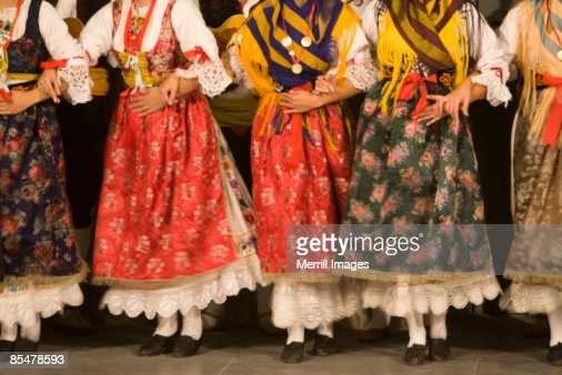 Folk dancers in traditional costumes.