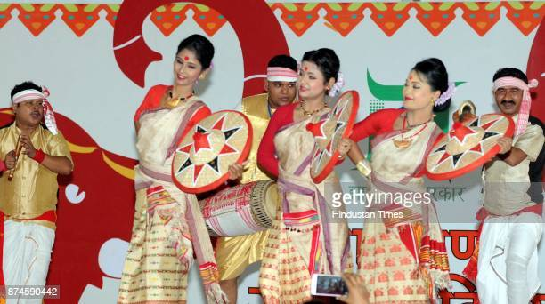 Folk dancers of Assam performs during the 17th Foundation Day of Jharkhand state at Morhabadi ground on November 15 2017 in Ranchi India Every year...