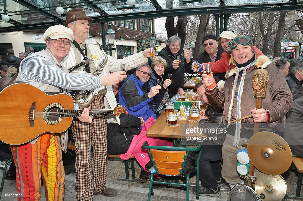 A folk music band during the opening of Schweizerhaus Wien on March 15, 2013 in Vienna, Austria.