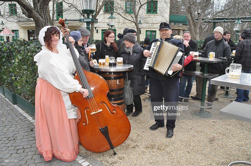 A folk music band during the opening of Schweizerhaus Wien on March 15, 2013 in Vienna, Austria.