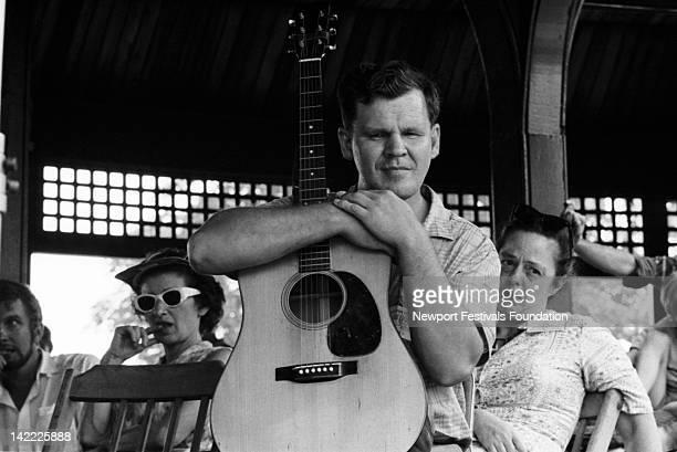 Folk musician Doc Watson on stage at the Newport Folk Festival in July 1963 in Newport Rhode Island