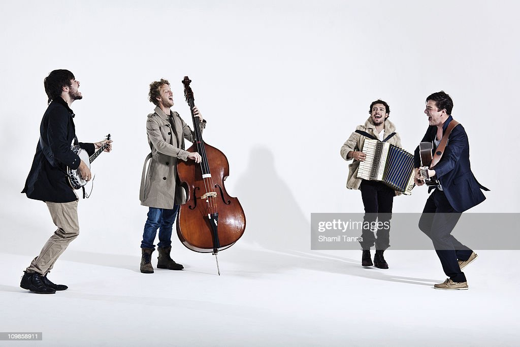 Folk rock band Mumford & Sons pose for a portrait shoot in London on July 7, 2010.