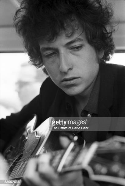 Folk singer Bob Dylan at the Newport Folk Festival on July 25 1965 in Newport Rhode Island