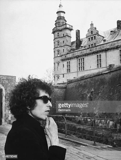 Folk singer Bob Dylan contemplates Kronborg Castle the Elsinore Castle of Shakespeare's Hamlet shortly after arriving in Denmark to start his world...