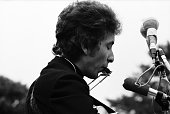 Folk singer Bob Dylan performs at the Newport Folk Festival on July 1964 in Newport Rhode Island
