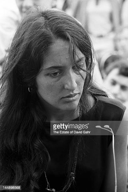 Folk singer Joan Baez backstage at the Newport Folk Festival in July 1965 in Newport Rhode Isalnd