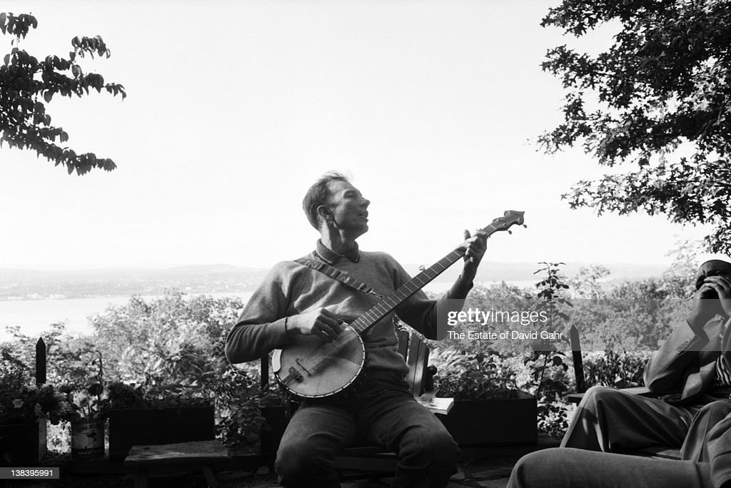 Folk singer Pete Seeger at his cabin home in August 1958 in Beacon, New York.