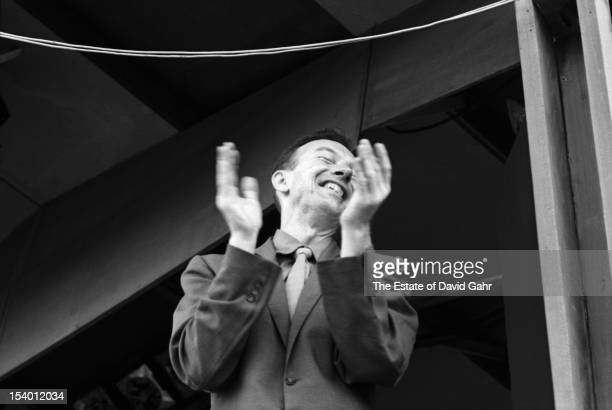 Folk singer songwriter and activist Pete Seeger performs at the Newport Folk Festival in July 1959 in Newport Rhode Island