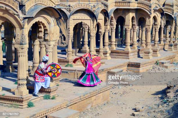 Folk singer with woman performs dance, Rajasthan ,India, Asia