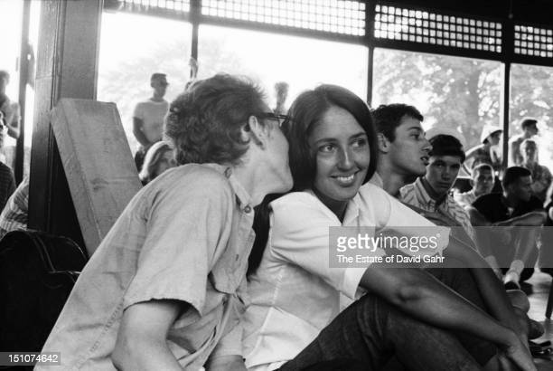 Folk singers Bob Dylan and Joan Baez backstage before performing at the Newport Folk Festival in July 1963 in Newport Rhode Island