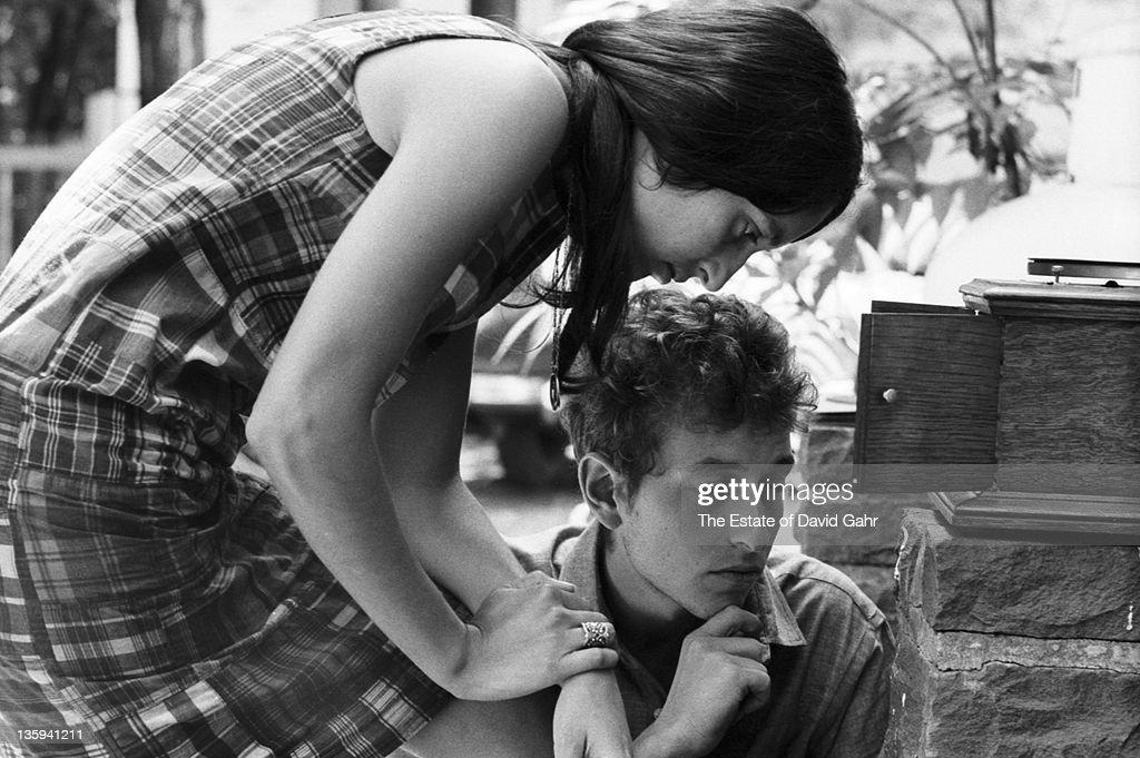 Folk singers Bob Dylan and Joan Baez relax in July 1963 in Woodstock New York