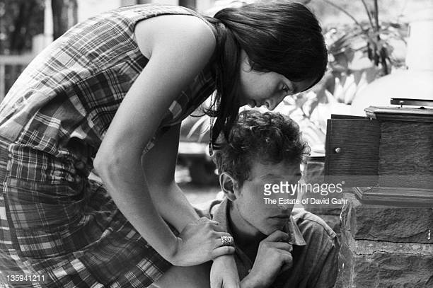 Folk singers Bob Dylan and Joan Baez relax in July 1963 in Woodstock New York