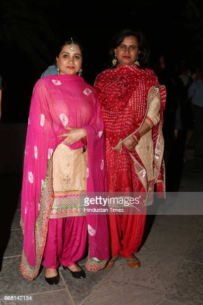 Folk singers Glory Bawa and Laachi Bawa during the Mela Phulkari at India Habitat Centre on April 9 2017 in New Delhi India Mela Phulkari saw...