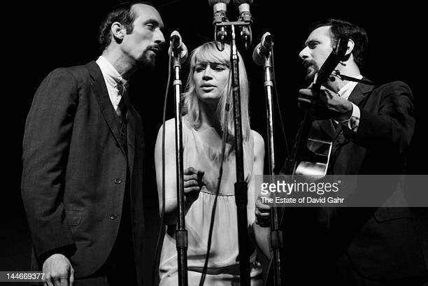 Folk trio Peter Paul and Mary perform at the Newport Folk Festival in July 1963 in Newport Rhode Island