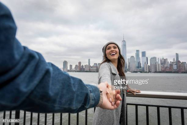 Follow me Concept - Couple Traveling in New York City