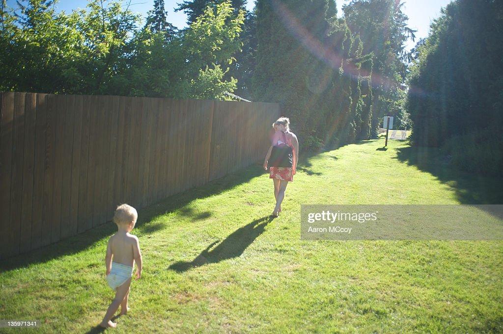 Follow me son : Stock Photo