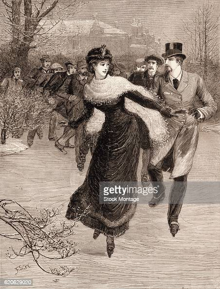 Followed by a line of men a welldressed woman skates on a frozen pond 1881