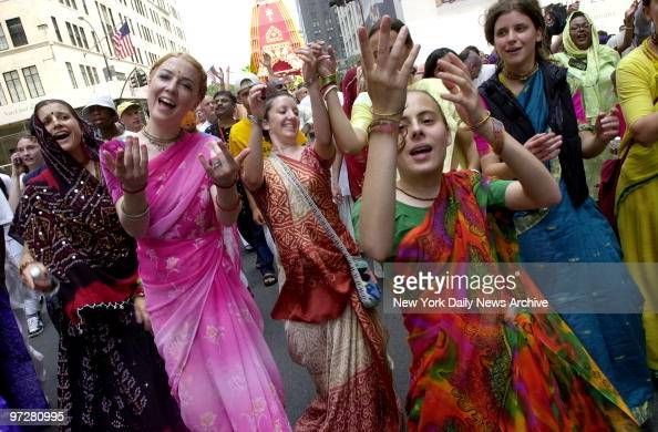 Followers of Hare Krishna take part in their annual parade down Fifth Ave beginning at 59th St and ending at Washington Square Park