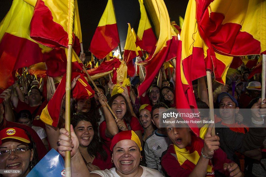 Followers of Partido Acción Ciudadana, celebrate after winning the second round of the Presidential Elections in Costa Rica at Fuente de la Hispanidad on April 06, 2014 in San Jose, Costa Rica.