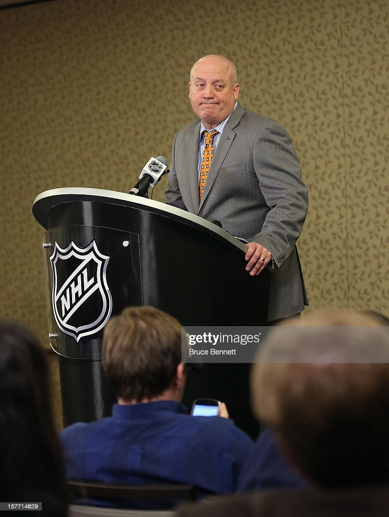 Following a day of negotiations with the NHL Players Association, NHL Deputy Commissioner Bill Daly of the National Hockey League addresses the media at the Westin Times Square on December 5, 2012 in New York City.
