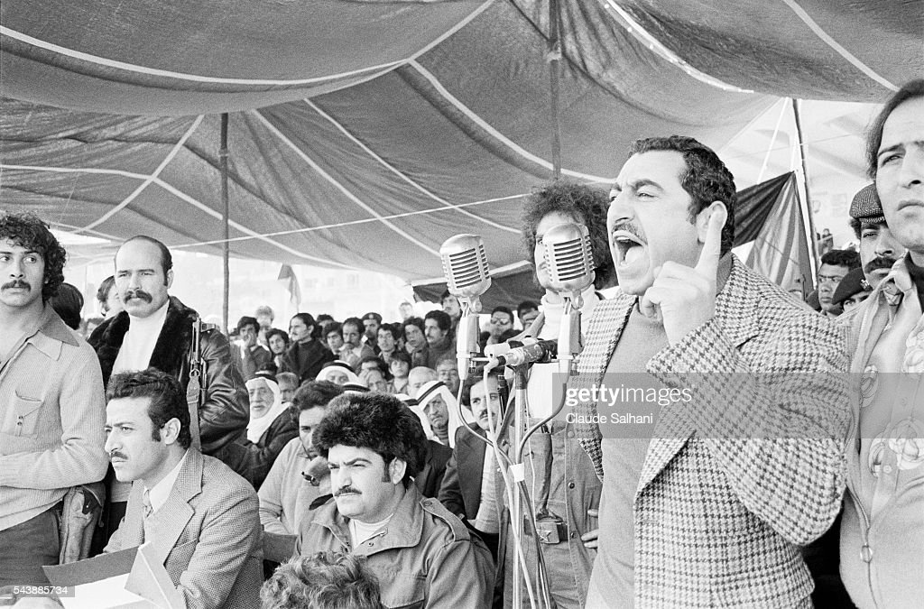 Following a military parade General Secretary of the Democratic Front for the Liberation of Palestine Nayef Hawatmeh delivers a speech protesting...